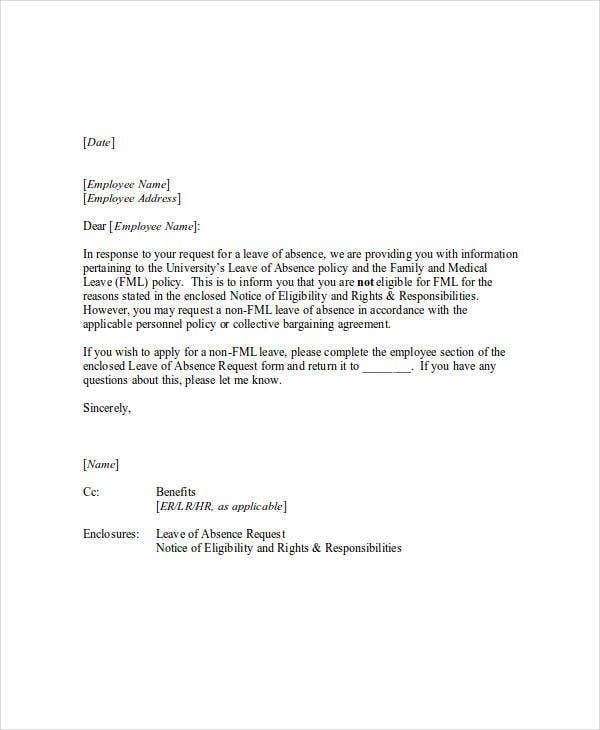 Cover Letter For Leave Request