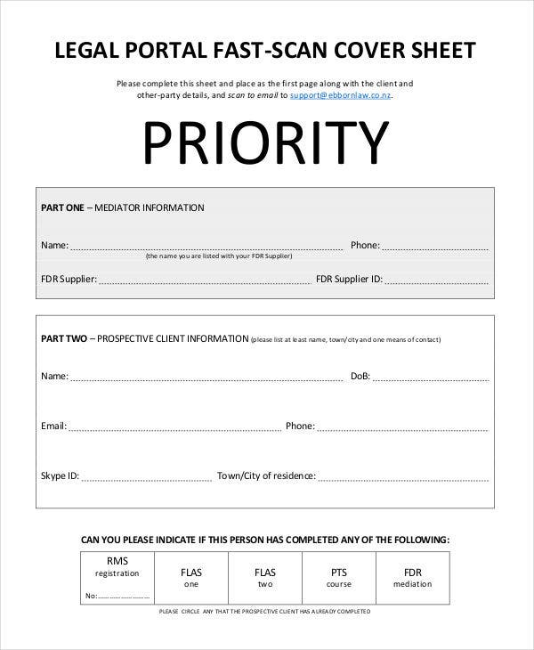 legal cover sheet