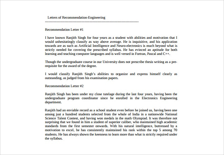 letter of recommendation engineering student