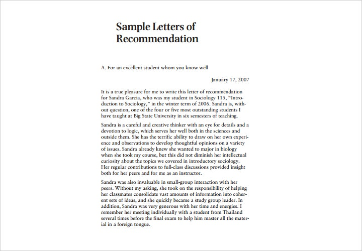 letter of recommendation for sociology student