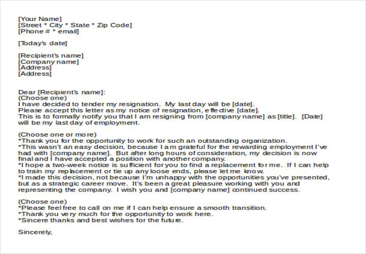 Sample Letter Of Resignation Template