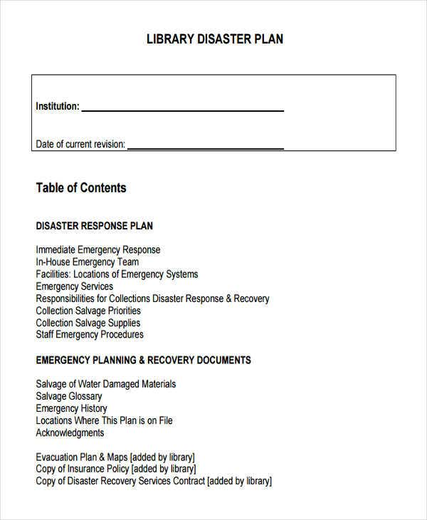 9 disaster plan templates free sample example format download