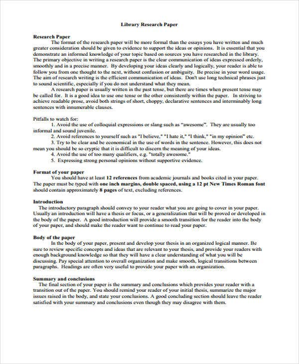 Library Research Paper Sample. The Research Report Csulb Style And