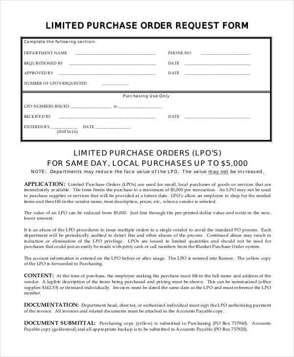 Limited Purchase Order Request  Local Purchase Order Form