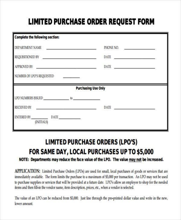Limited Purchase Order Request  Purchase Order Form Example