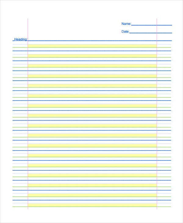 lined paper for elementary student