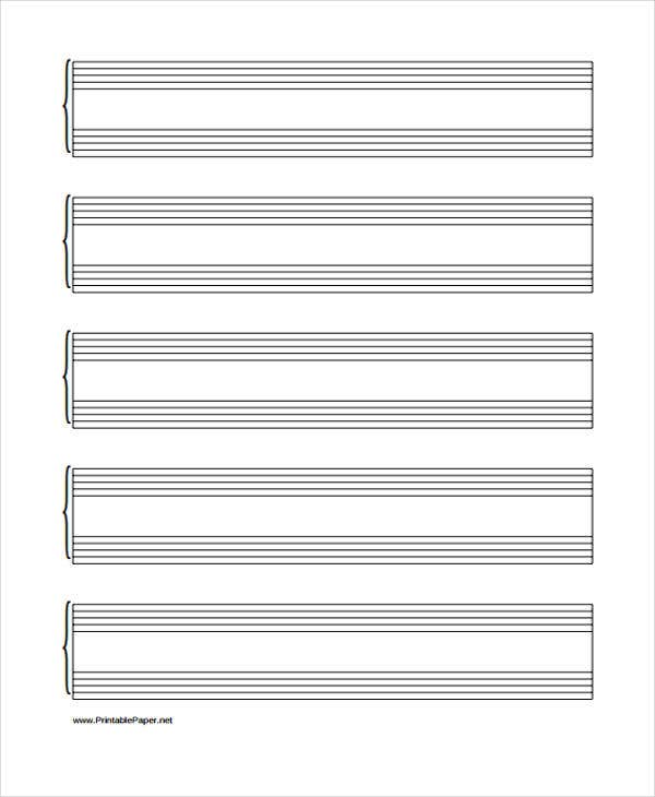 Lined Paper For Music Staff