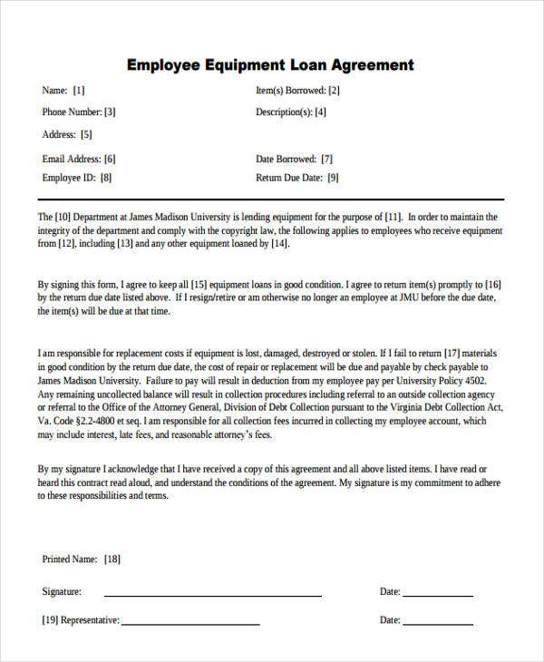 loan agreement for employee equipment