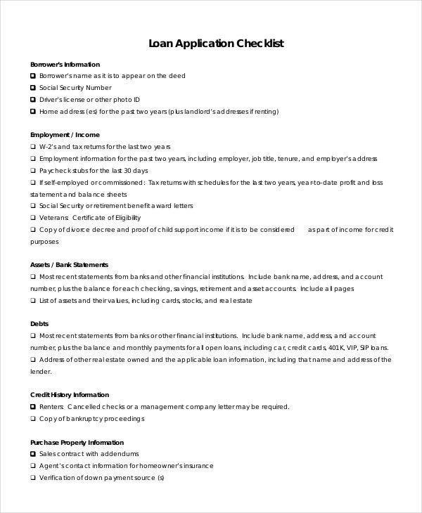 application checklist templates