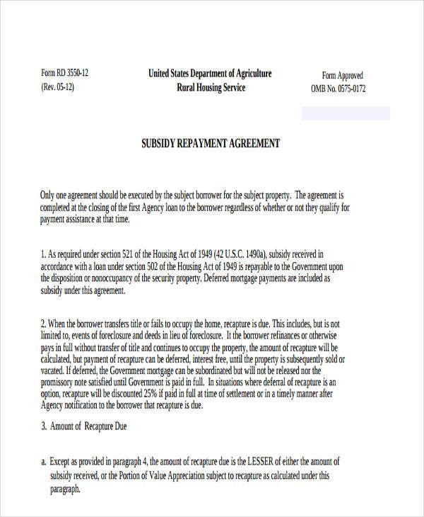 loan repayment agreement form