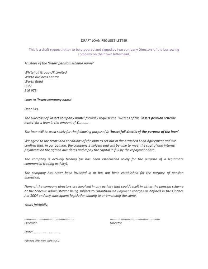 loan request letter template
