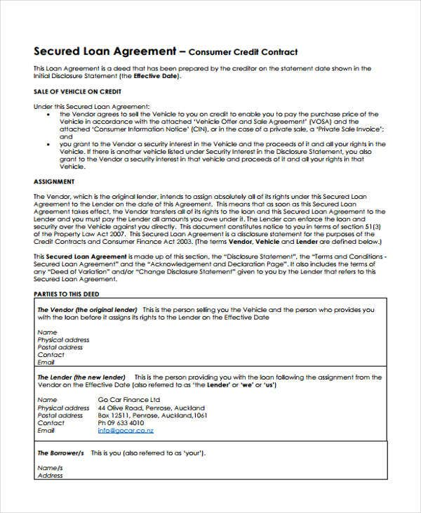 loan secured agreement