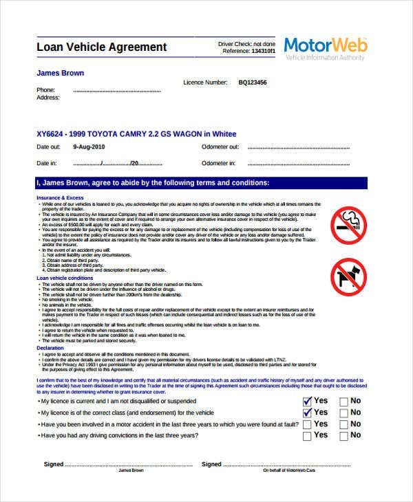 loan vehicle agreement form