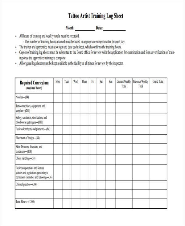Training Sheet Templates   Free Pdf Format Download  Free