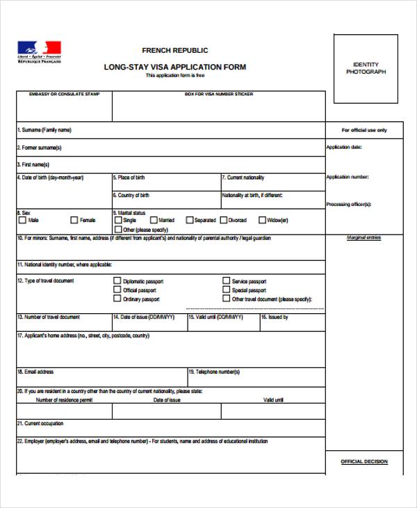 48+ Application Form Templates | Free & Premium Templates on france visa application form online, france student visa application form, france visa requirements,