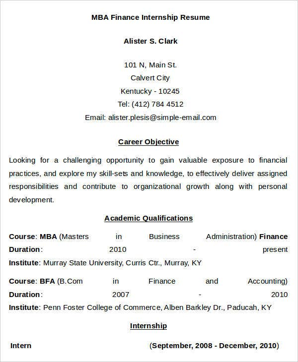 MBA Finance Internship Resume