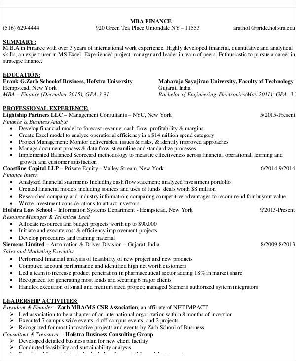 17+ Finance Resume Templates - PDF, DOC
