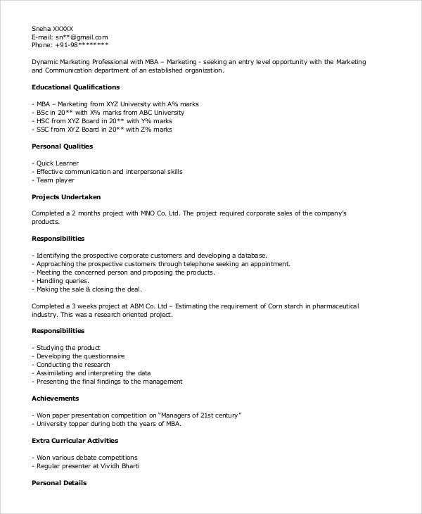 mba marketing fresher resume