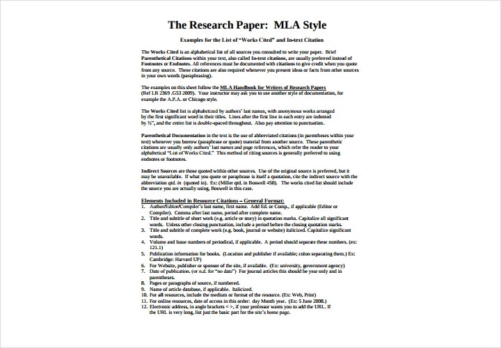 mla style research papers