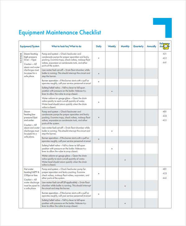 machine maintenance checklist template - 32 checklist templates in pdf free premium templates