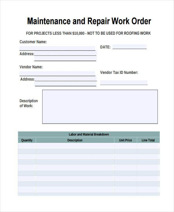 maintenance repair work order