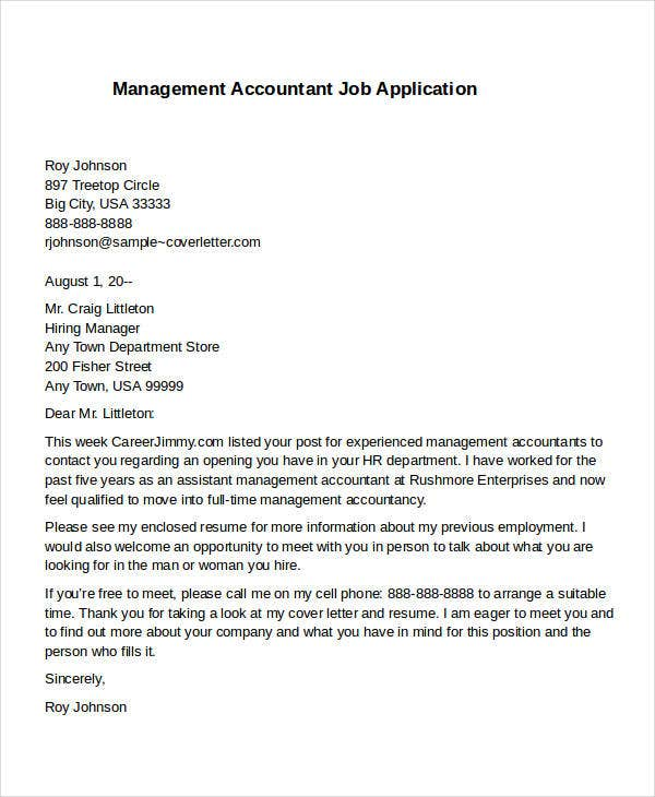 management accountant job application