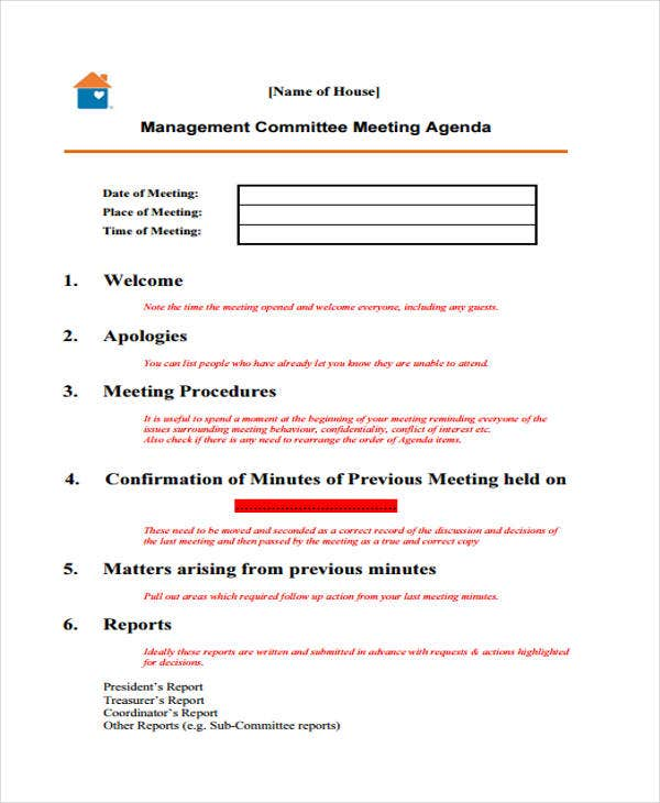 management committee meeting agenda1