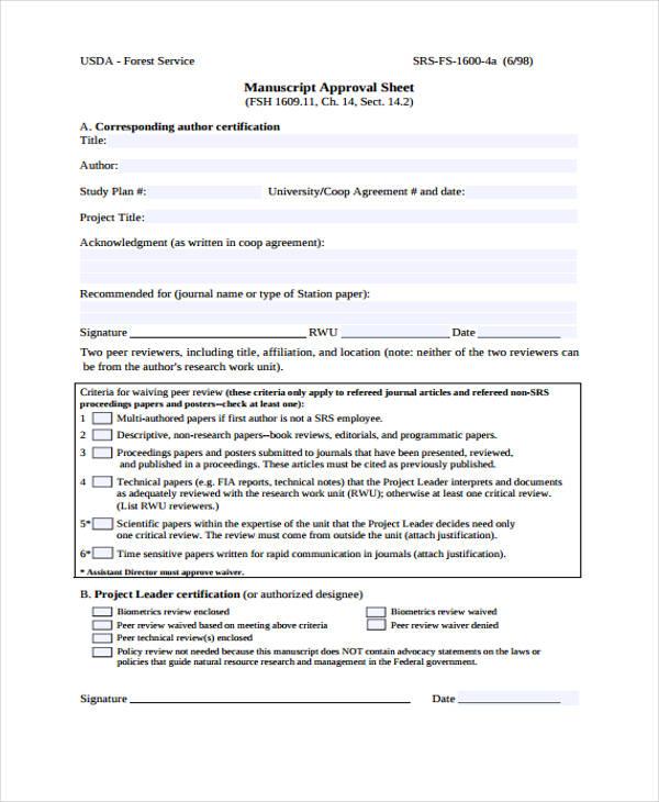 manuscript approval sheet