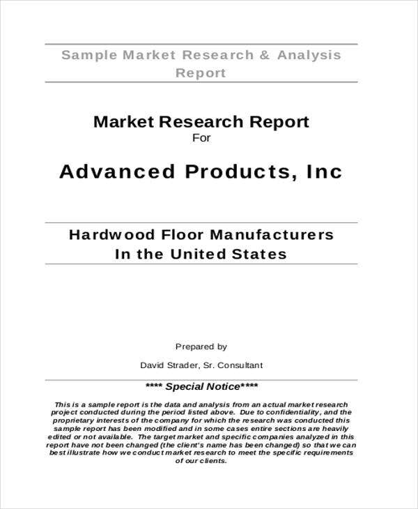 market analysis research report