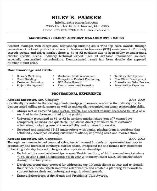 resume for marketing executive