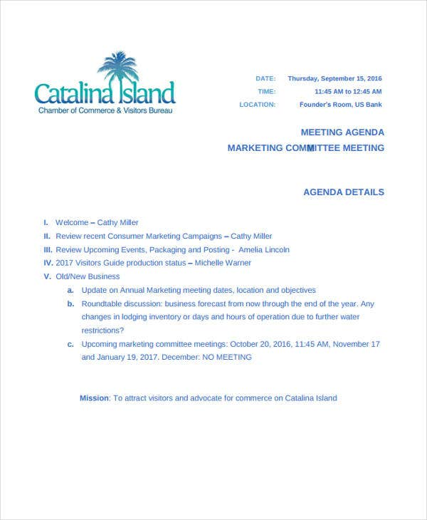 marketing committee meeting agenda