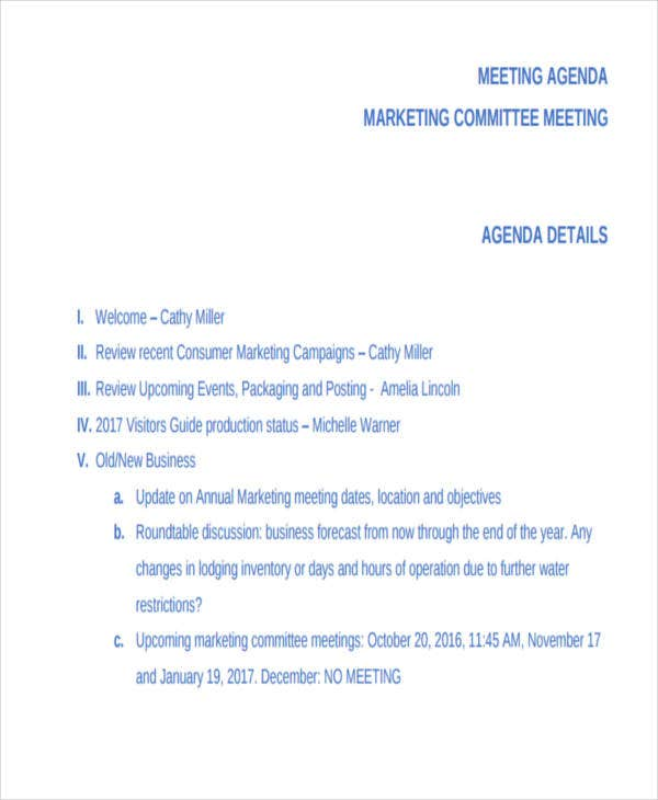 marketing committee meeting agenda1