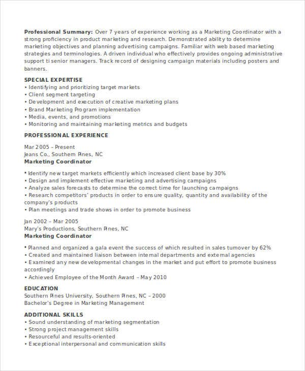 marketing coordinator job resume