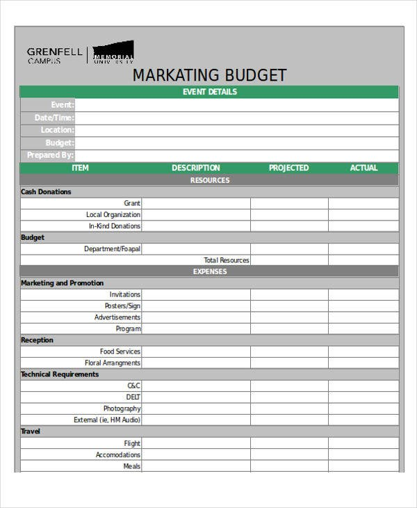marketing event budget