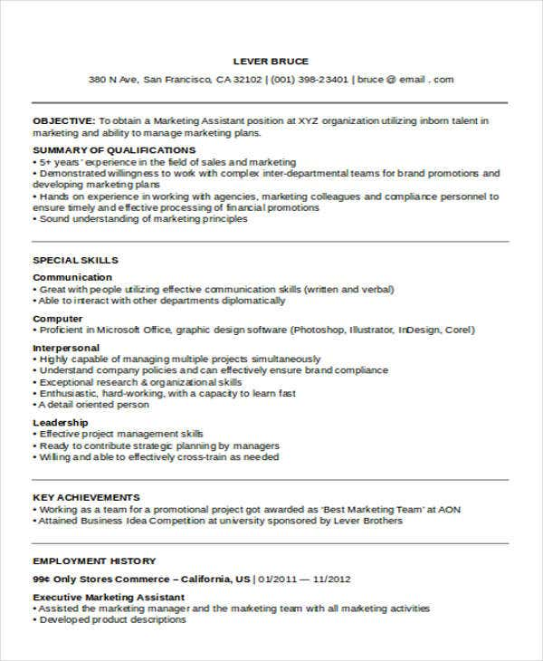 marketing executive assistant resume1