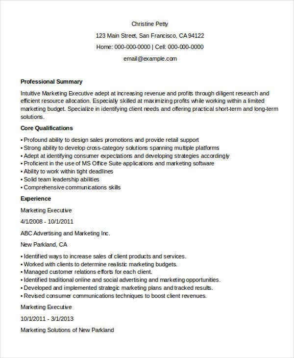 marketing executive resume1