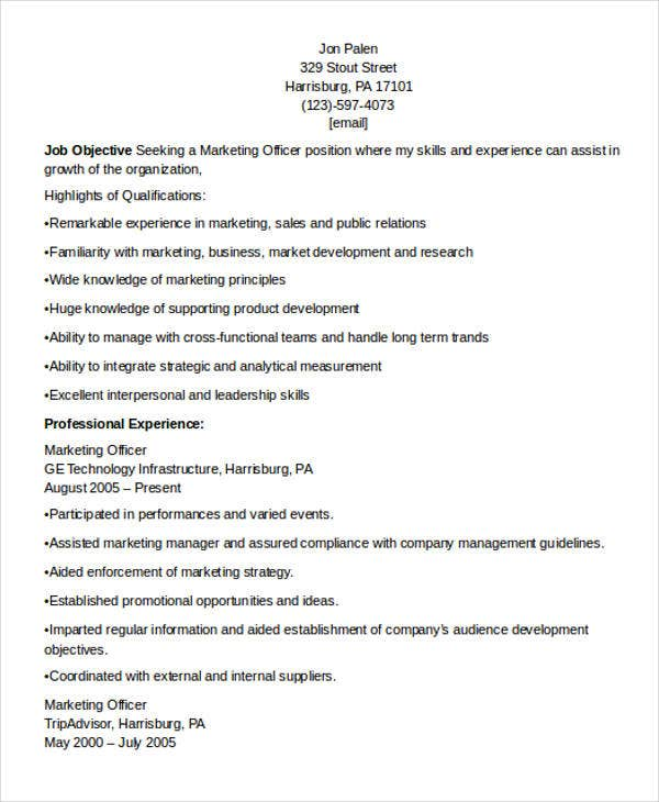 marketing officer resume example