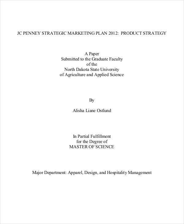 marketing plan research paper
