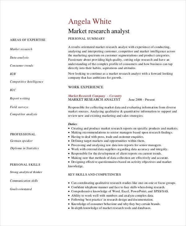 marketing research analyst resume