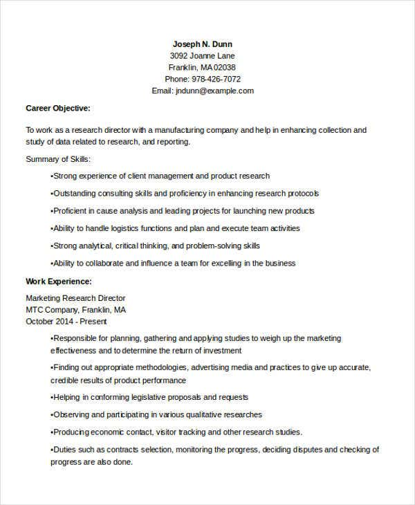 marketing research resumes
