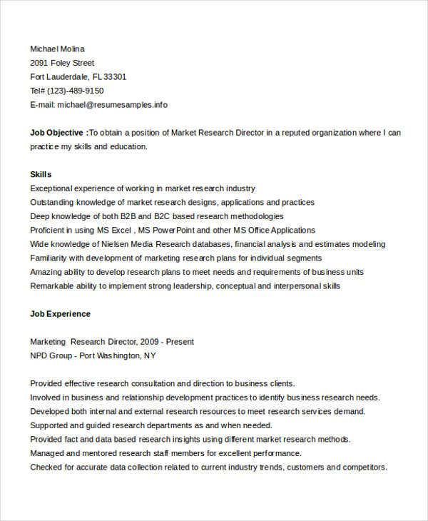 basic marketing resume