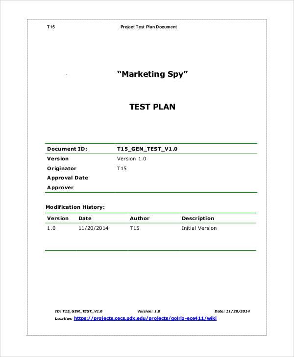 marketing test plan