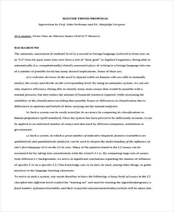 Research proposals for masters thesis