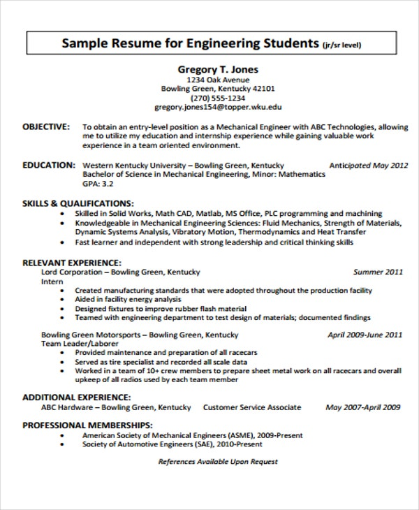 23 engineering resume templates in pdf free premium