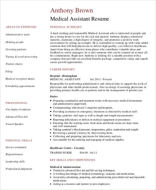 Medical Assistant Work Resume