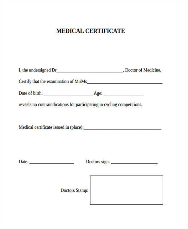 medical certificate example