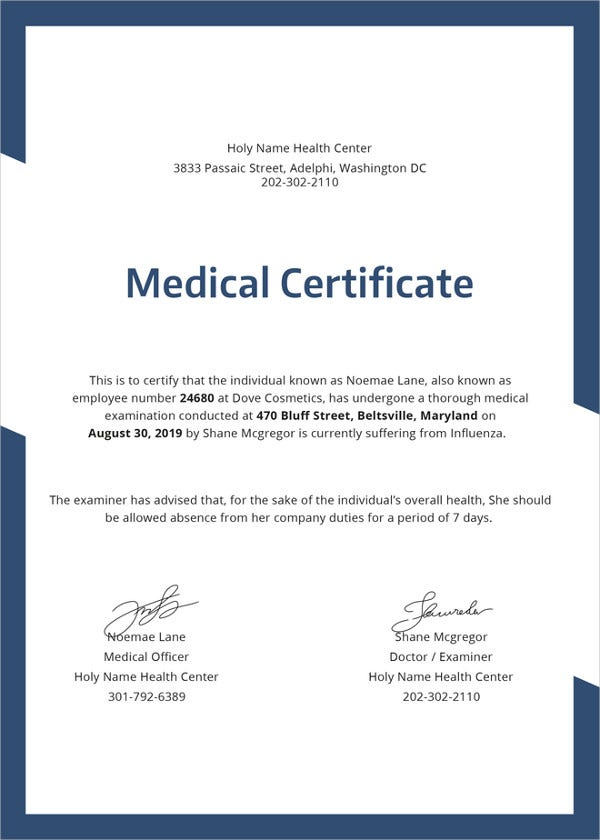 23 Medical Certificate Samples Free Amp Premium Templates