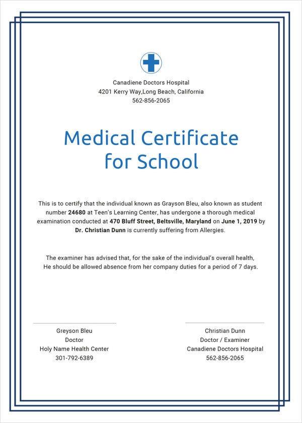 medical certificate for school template in ipages