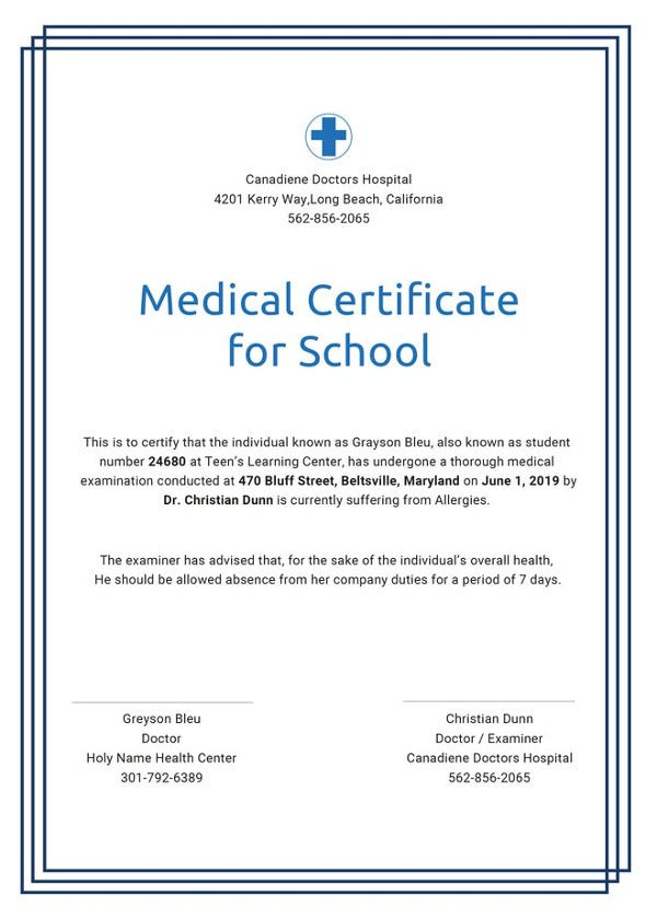 Medical Certificate Samples  Free  Premium Templates