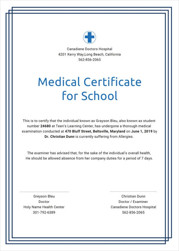 Medical Certificate For School Word Template